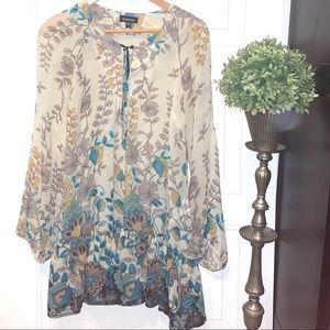 Bebe tunic dress semi sheer floral boho ruffled S